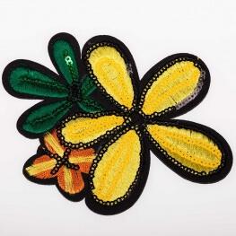 Ecusson fleur brodé & sequin - Jaune