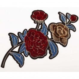 Ecusson velours 3D - Fleurs rouge & bleu