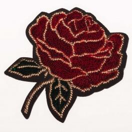 Ecusson velours 3D - Fleurs rouge & vert