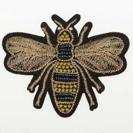 Ecusson velours 3D & perlé - Abeille moyen insecte