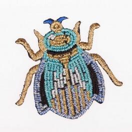 Ecusson insecte scintillant - Scarabée doré & bleu