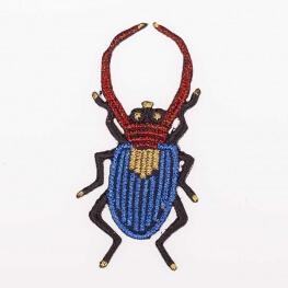 Ecusson insecte scintillant - Coléoptère doré, rouge & bleu