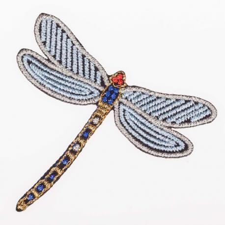 Ecusson insecte scintillant - Libellule doré & argent