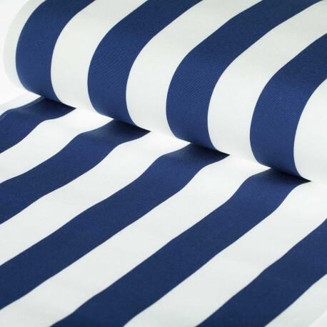Tissu toile d'extérieur transat - Largeur 43cm - Rayures bleu marine & blanc