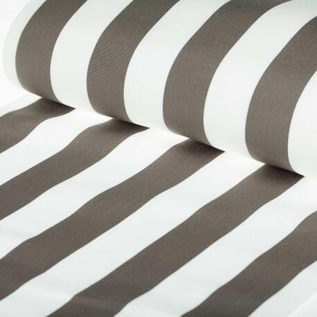 Tissu toile d'extérieur transat - Largeur 45cm - Rayures taupe & blanc