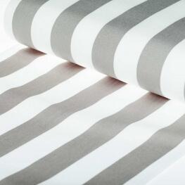 Tissu toile d'extérieur transat - Largeur 45cm - Rayures Gris & blanc