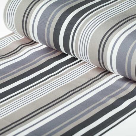 Tissu toile d'extérieur transat - Largeur 45cm - Rayures Gris