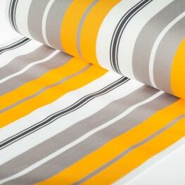 Tissu toile d'extérieur transat - Largeur 45cm - Rayures Gris & jaune