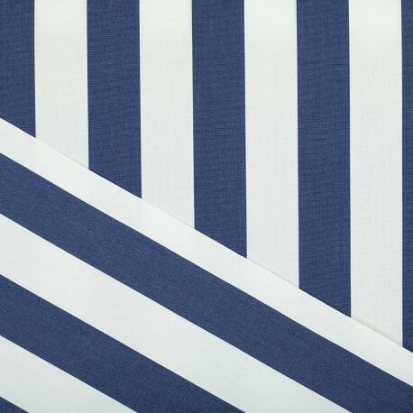 Tissu toile d'extérieur - Largeur 160cm - Rayures bleu marine & blanc