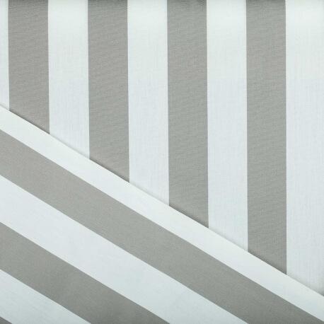 Tissu toile d'extérieur - Largeur 160cm - Rayures Gris & blanc
