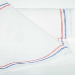 Tissu pour torchon pur lin - Blanc & tricolore