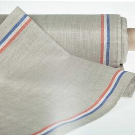 Tissu pour torchon pur lin - Naturel & tricolore