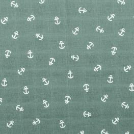 Tissu lange 100% coton ancres - Vert