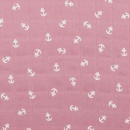 Tissu lange 100% coton ancres - Rose