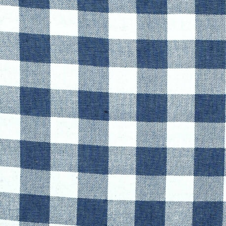 Tissu vichy denim - Bleu mid