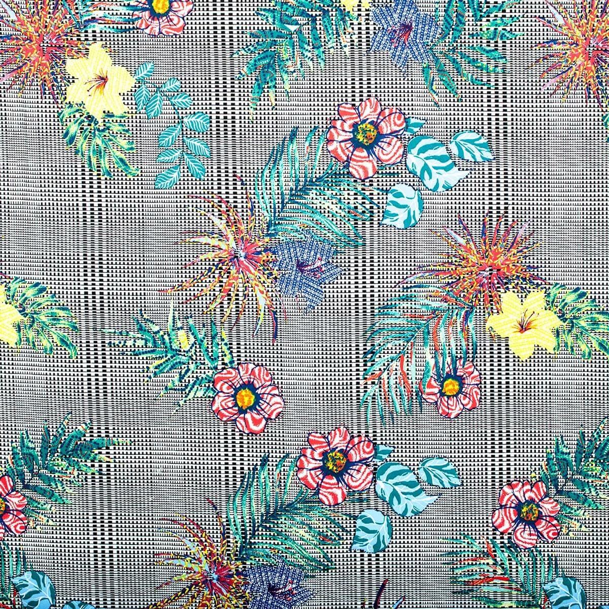 tissu carreaux fleurs tropical multicolore. Black Bedroom Furniture Sets. Home Design Ideas