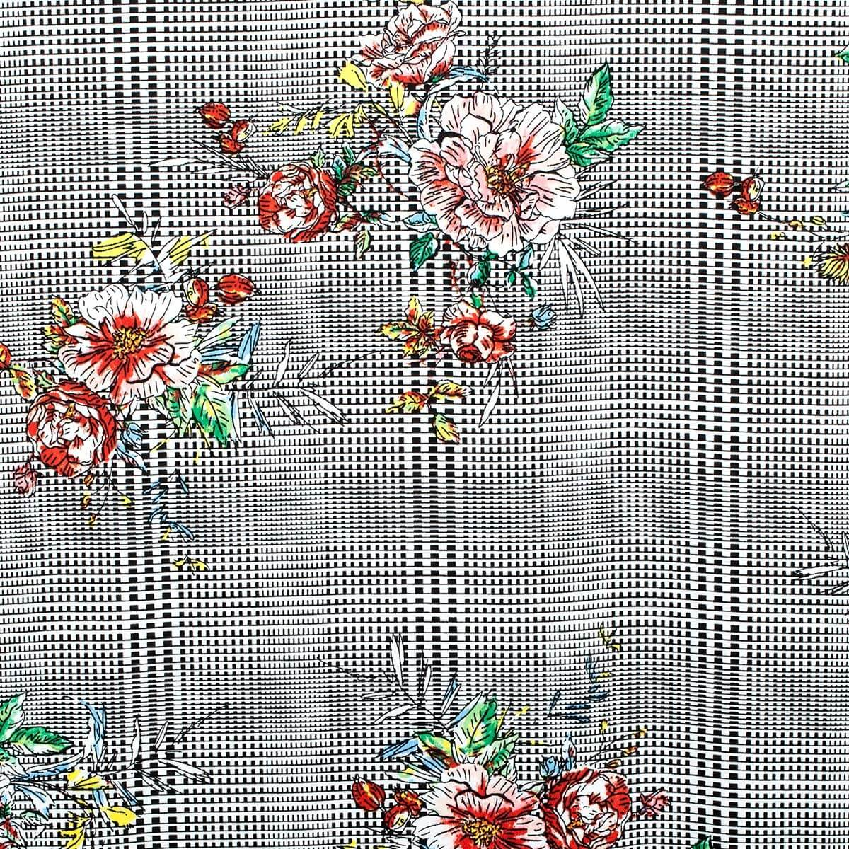 tissu carreaux fleurs classique multicolore. Black Bedroom Furniture Sets. Home Design Ideas