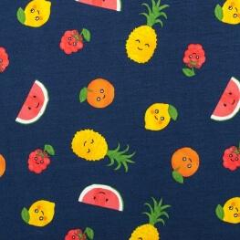 Tissu jersey tutti frutti - Bleu marine