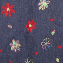 Tissu chambray brodé fleuri hippy - Bleu & multicolore