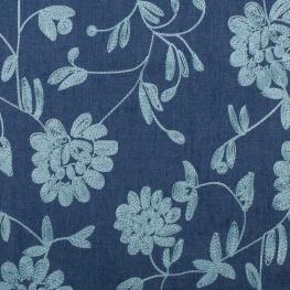 Tissu chambray brodé fleuri - Bleu & bleu ciel