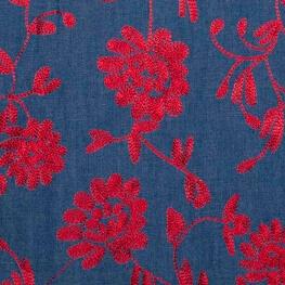 Tissu chambray brodé fleuri - Bleu & rouge