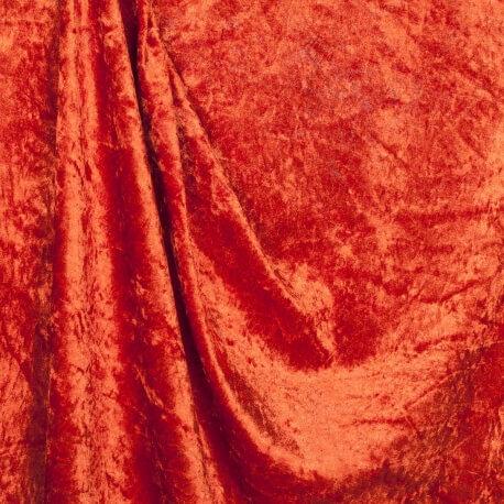 Tissu panne de velours - Orange rouille