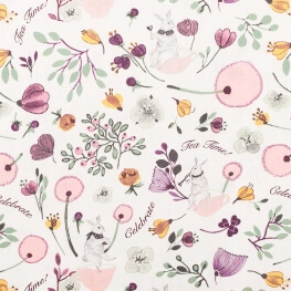 Tissu coton lovely garden tea time - Rose, vert & violet