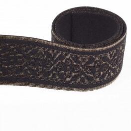 Ruban ceinture élastique fantaisie - Noir & lurex