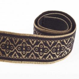 Ruban ceinture élastique fantaisie - Or lurex & noir