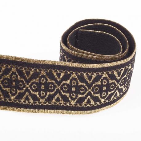 ed0d3c9e0fb Ruban ceinture élastique fantaisie au mètre - Or lurex   noir ...