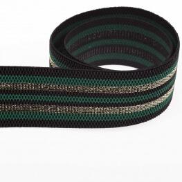 Ruban ceinture élastique à rayures lurex - Vert & or