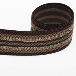 Ruban ceinture élastique à rayures lurex - Terre & or