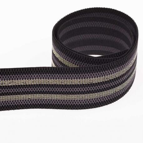 Ruban ceinture élastique à rayures lurex - Gris & or
