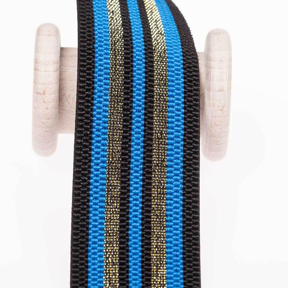 f8db837a5e5 Ruban ceinture élastique à rayures lurex au mètre - Bleu   or ...