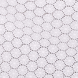 Tissu broderie anglaise rayon  - Blanc
