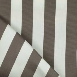 Tissu toile d'extérieur - Largeur 160cm - Rayures taupe & blanc