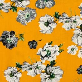 Tissu viscose à fleurs - Moutarde