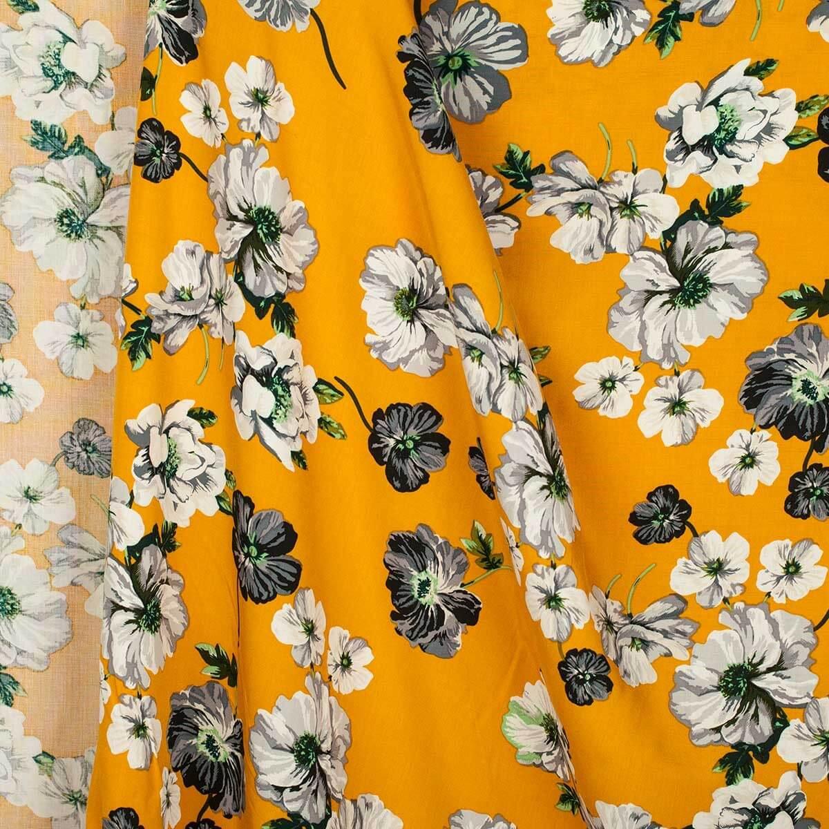 tissu viscose fleurs moutarde mercerie car fil. Black Bedroom Furniture Sets. Home Design Ideas