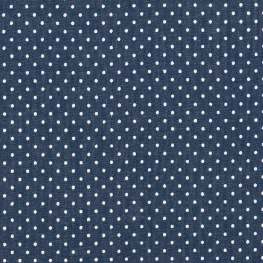 Tissu chambray coton pois - Bleu & blanc