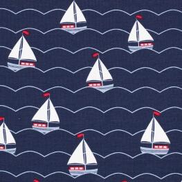 Tissu jersey voiliers - Bleu marine
