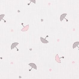 Tissu piqué de coton fantaisie parapluie - Rose & gris