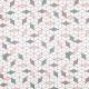 Tissu popeline inspiration cubic - Rose poudrée & vert de gris