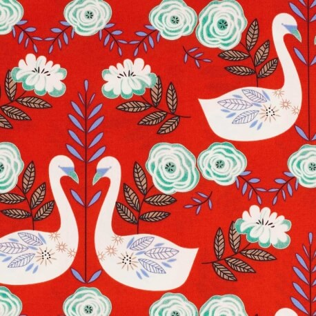 Tissu lovely swans - Rouge