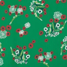 Tissu green flowers - Vert