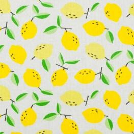 Tissu coton cretonne citron jaune  - Ecru
