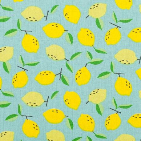 Tissu coton cretonne citron jaune  - Bleu