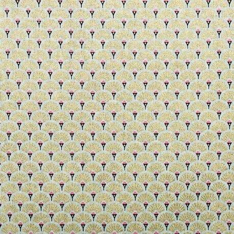 Tissu coton cretonne éventails dorées - Or