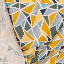 Tissu coton double gaze graphique - Vert & moutarde