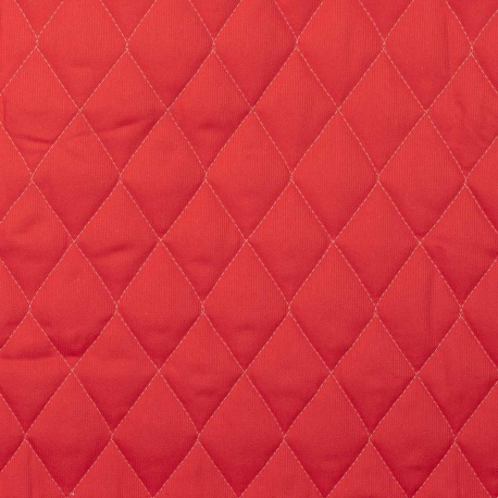 Tissu piqué de coton matelassé uni - Rouge