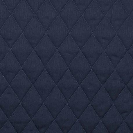 Tissu piqué de coton matelassé uni - Bleu marine